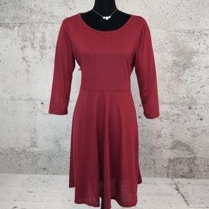 Dresses & Skirts - CHEAPIE Round Neck Plain Skater Dress
